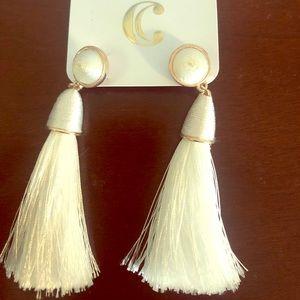Charming charlie white tassel earrings